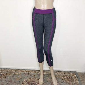 Lululemon Gray + Purple Cropped Athletic Leggings